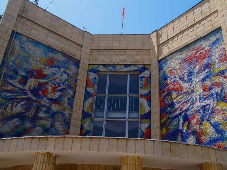 Soviet mural near the Lenin's monument in Osh Kyrgyzstan