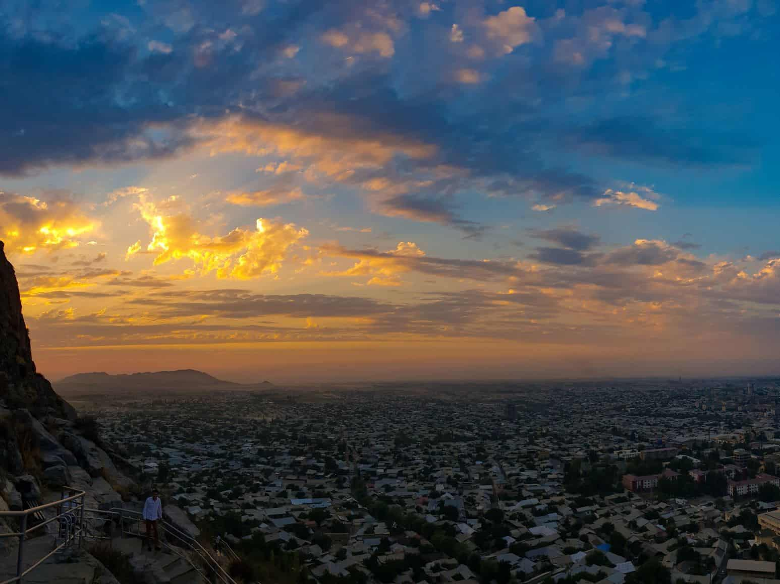 Sunset on the northern slope of Sulaiman-Too